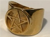 Pentacle Ring - thick 3d printed Thick pentacle ring in polished brass