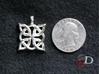 4 Clover Knot - Pendant 3d printed Actual Product Image for scale. Shown in polished silver.