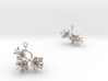 Apple earring with three small flowers 3d printed