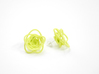 Sprouted Spirals Earrings (Studs) 3d printed Custom Dyed Color (Key Lime)