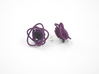 Sprouted Spirals Earrings (Studs) 3d printed Custom Dyed Color (Eggplant)