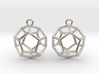 Dodecahedron Wireframe Earrings 3d printed
