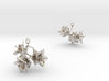 Potato earring with three small flowers 3d printed
