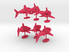 """wall decoration """" 6 Sharks"""" 3d printed"""