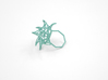 Aster Ring (Small) Size 6 3d printed Teal Nylon (Custom Dyed Color)