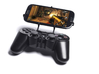 PS3 controller & Lava Iris 406Q 3d printed Front View - A Samsung Galaxy S3 and a black PS3 controller