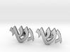 "Hebrew Monogram Cufflinks - ""Gimmel Yud Shin"" 3d printed"