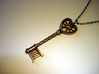 Heart Key Pendant 3d printed Stainless steel - Photo of an actual item (chain not included)