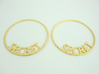 Custom Hoop Earrings - Secret 50mm 3d printed Custom Hoop Earrings with text SECRET. Printed in Polished Gold Steel.