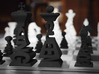 Typographical Chess Set 3d printed Close up of Black set