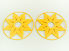 Sunflower Hoop Earrings 60mm 3d printed Sunflower Hoop Earrings 60mm printed in Yellow Strong & Flexible Polished.