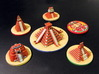 Mayan Pyramids and Calendar center (6 pcs) 3d printed Hand-Painted White Strong Flexible.