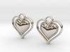 Framed Heart Earrings 3d printed