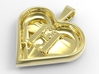 Secret heart pendant [customizable] 3d printed The back of the heart, rendered in polished brass