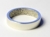 """Fingerprint Ring - His 3d printed The """"his"""" 5mm fingerprint wedding ring, printed in beautiful 14k White Gold. Pictured ring is a US size 8 (18.14mm)"""