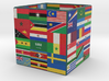 Cube with flags of the nations 3d printed