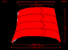 Iron Man Oblique Armor (Right Side) 3d printed Side Measurements (What's Highlighted in Red will be printed)