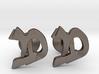 """Hebrew Monogram Cufflinks - """"Mem Bais"""" 3d printed"""