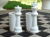 King & Queen Chess Pieces Shot Glasses-44mL/1.5oz 3d printed Gloss White  Porcelain