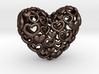 Heart by Heart 35mm Pendant. 3d printed bronze steel Hearts