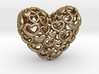 Heart by Heart 35mm Pendant. 3d printed gold steel Hearts