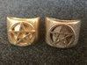Pentacle Ring - large (choose size) 3d printed So you can compare, here's the thick pentacle ring printed in raw brass next to the one printed in stainless steel. Can you see the differences in design? Don't worry if you can't; it's the sort of thing that only the designer might notice.  You can make
