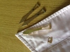 Metal Shirt Collar Stays (Pair) 3d printed Polished Brass on the bottom, Stainless Steel on the top