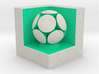 LuminOrb 1.5 - Cube Stand 3d printed Shapeways render of Cube Display Stand with KINDNESS in Full Color Sandstone
